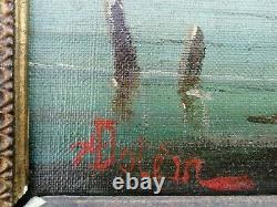 Ancien tableau marine signé huile sur toile oil canvas cadre a clavettes