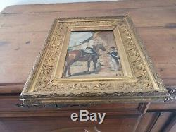 Ancien tableau militaire huile sur panneau signé Alex 1914