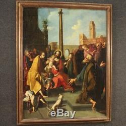 Ancien tableau peinture huile sur panneau religieux avec cadre 600 17ème siècle