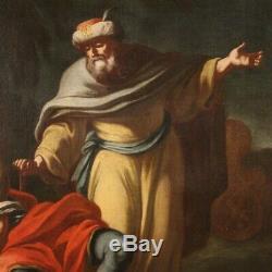 Ancien tableau peinture huile sur toile mythologique cadre 700 18ème siècle