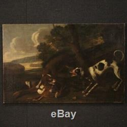Ancien tableau peinture huile sur toile paysage scène de chasse 18ème siècle