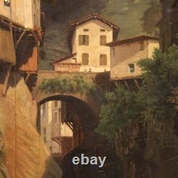 Ancien tableau peinture huile sur toile signé paysage cadre 800 19ème siècle