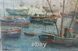Ancien Tableau Peinture Marine Signe Saudemont Huile Sur Toile