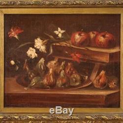 Ancien tableau peinture nature morte cadre huile sur toile 700 18ème siècle