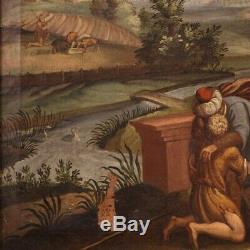 Ancien tableau peinture religieuse huile sur toile avec cadre fils prodigue 700