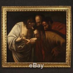 Ancien tableau peinture religieuse huile sur toile saint Thomas 17ème siècle