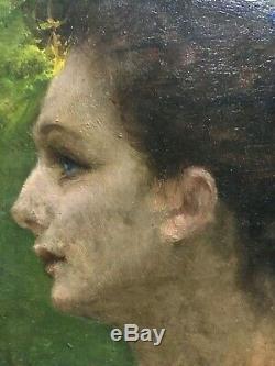 Ancien tableau peinture sur panneau HENRI PINTA (1856-1944) femme symboliste