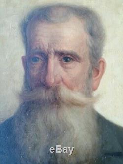 Ancien tableau portrait 1916 huile sur panneau signe PENNAZIO Augusto Italy