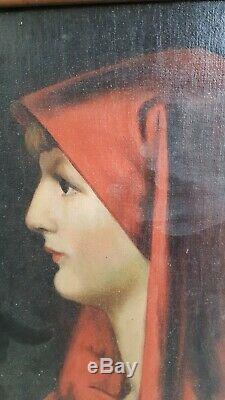Ancien tableau, portrait huile sur toile, d'après Henner