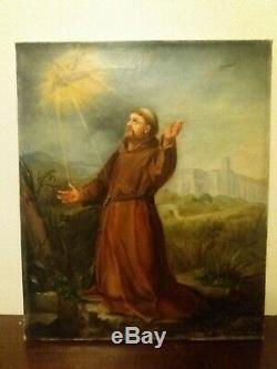 Ancien tableau religieux 19eme, huile sur toile
