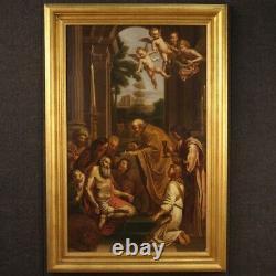 Ancien tableau religieux Saint Jérôme peinture huile sur toile avec cadre 800
