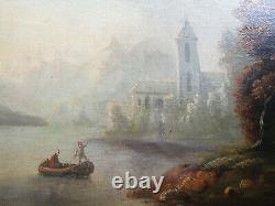 Ancien très beau tableau, milieu XIXe, huile sur toile pêcheur paysage Barbizon