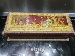 Ancienne Boite A Gant Napoleon Iii, Peinture Sur Zinc, Putti, Angelot, Xixeme, Femme