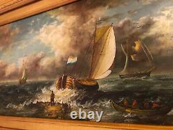 Ancienne Ecole anglaise, scène de marine, huile sur bois signé