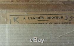 Ancienne Etude Peinte A L'huile Sur Panneau Bois Xixeme Cartouche Gericault