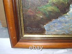 Ancienne HUILE SUR TOILE PAYSAGE cascade signée Reney  artiste a bonne cote