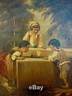 Ancienne Huile Sur Toile 19 Eme Enfants A La Fontaine Signee Arnestus