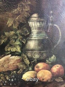 Ancienne Huile Sur Toile Nature Morte 19ème Old Painting