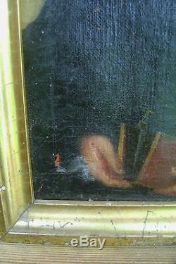 Ancienne Huile Sur Toile Peinture D'un Homme Notable Encadre Début XIX N3081