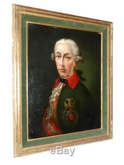 Ancienne Huile Sur Toile Portrait De L'empereur Joseph II D'autriche Xixe Roi