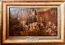 Ancienne Huile Sur Toile. Scène De Salon. Atelier De Fortuny (1838-1874)