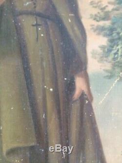 Ancienne Huile Sur toile Saint Dosithee fin 18 eme siecle