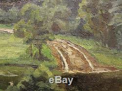 Ancienne Huile sur toile impressionniste signature représentant un paysage foret