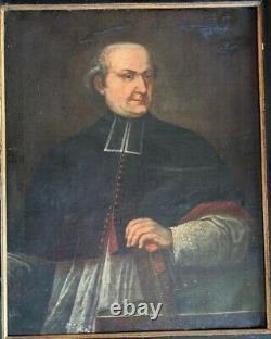 Ancienne Huile sur toile portrait de Chanoine au XVIIIème siècle bible religiosa