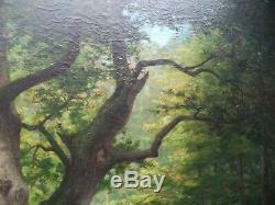 Ancienne Peinture Hst Huile Sur Toile 1878 Barbizon Signee French Antique