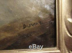 Ancienne Peinture Huile Sur Carton Nu Allonge Signee Duval