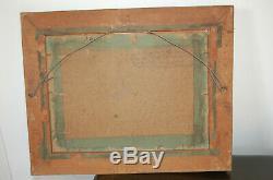 Ancienne Peinture Huile Sur Carton Signée Paysage Cadre Doré Ancien
