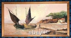 Ancienne Peinture Marine Grande Huile Sur Toile Signée A. Abougit Début XX Ème