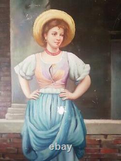 Ancienne Peinture huile sur panneau portrait de femme