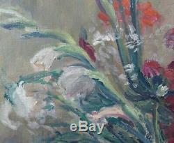 Ancienne grande Huile sur toile représentant un bouquet de glaïeuls signée HAAS