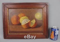 Ancienne huile sur carton 19ème XIX nature morte aux fruits oranges et citrons