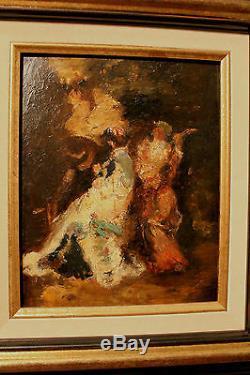 Ancienne huile sur carton d'après Adolphe Monticelli époque XIXème siècle