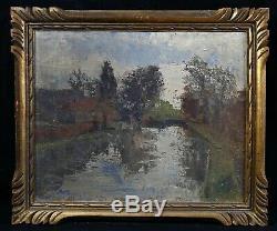 Ancienne huile sur carton fort paysage à la rivière impressionniste cadre doré