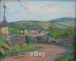Ancienne huile sur panneau paysage centre France bourgogne tableau L Gary paint