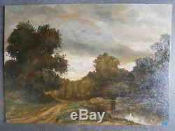 Ancienne huile sur panneau paysage du berry St Eloi de Gy peinture painting