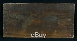 Ancienne huile sur panneau représentant une marine animée signature Normandie