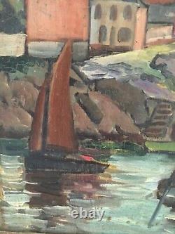 Ancienne huile sur panneau signée Paysage marin port village voilier France