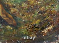 Ancienne huile sur panneau signée V. Simon homme et une femme nus et enlacés