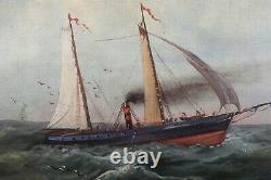 Ancienne huile sur toile 47,5 x 70 cm navires sur une mer formée signée Marine