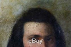 Ancienne huile sur toile Ecole française Portrait d'homme periode romantique