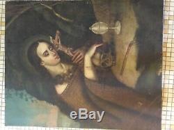Ancienne huile sur toile Vanité de Marie Madeleine fin XVIII, début XIXème
