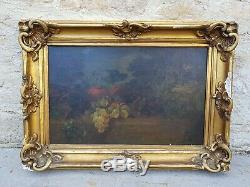 Ancienne huile sur toile XIXeme Nature morte raisins école française