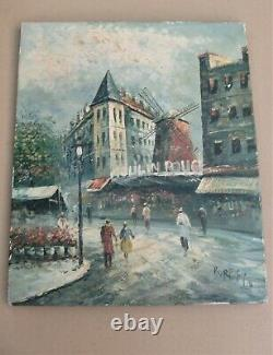 Ancienne huile sur toile des années 1960 signée BURNETT Moulin rouge