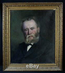 Ancienne huile sur toile portrait d'homme de qualité signée en bas à droite