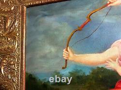 Ancienne huile sur toile représentant une scène mythologique, Dianne Chasseresse