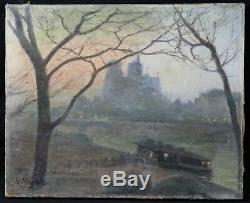 Ancienne huile sur toile signature 1904 / Notre-Dame de Paris France peniche